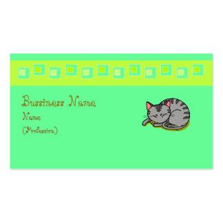 Cute grey cat sleeping business card template