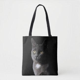Cute grey cat tote bag