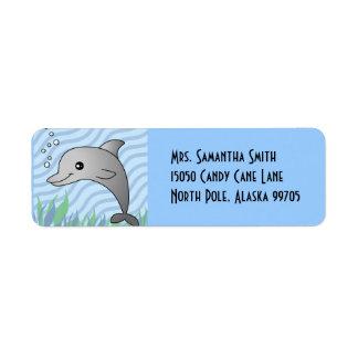 Cute Grey Dolphin in Blue Water