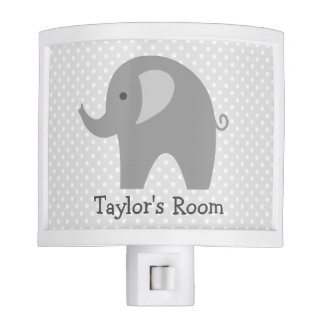 Cute grey elephant night light for nursery room