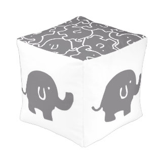 Cute Grey Elephant Pattern Zoo Animals Pouf