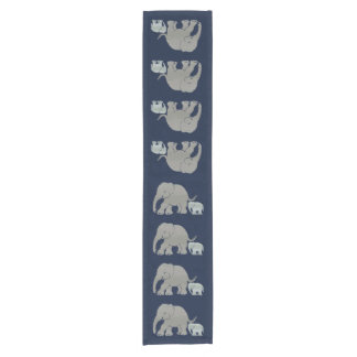 Cute grey elephant with baby on night blue short table runner