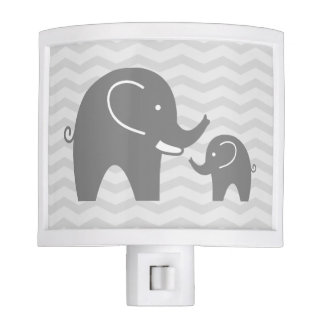 Cute grey elephants night light for nursery room