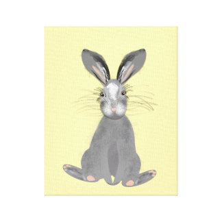 Cute Grey Hare Illustration Stretched Canvas Prints