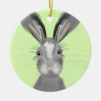 Cute Grey Hare Whimsy Illustration Ceramic Ornament
