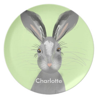 Cute Grey Hare Whimsy Illustration Dinner Plate