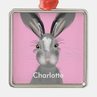 Cute Grey Hare Whimsy Illustration Silver-Colored Square Ornament
