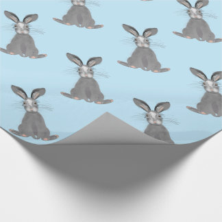 Cute Grey Hare Whimsy Illustration Wrapping Paper