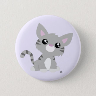 Cute Grey Kitty Button