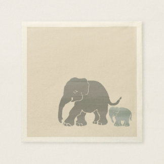 Cute Grey on Ivory Graphic Elephant with Baby Disposable Napkins