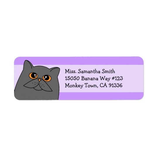 Cute Grey Persian Cat Return Address Labels