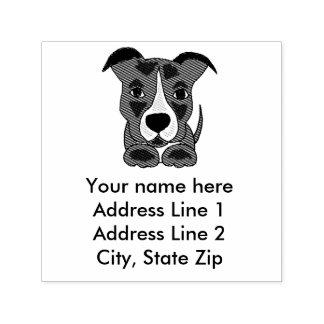 Cute Grey Pitbull Puppy Address Stamp