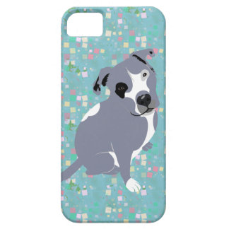 Cute Grey Pitbull Puppy on Squares Pattern iPhone 5 Covers
