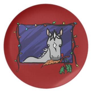 Cute Grey Pony Christmas Plates