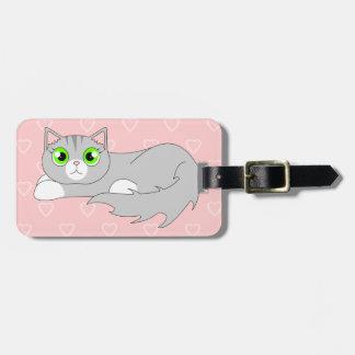 Cute Grey Ragdoll Cat Cartoon Luggage Tag