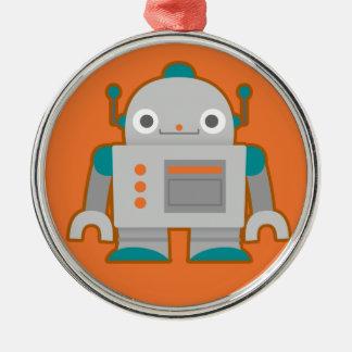 Cute Grey Robot Christmas Ornament