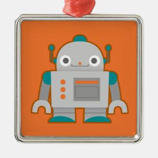Cute Grey Robot Silver-Colored Square Ornament