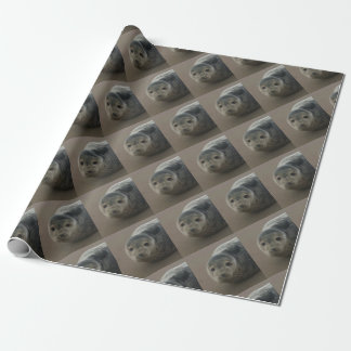 Cute grey seal pup baby on sandy beach wrapping paper