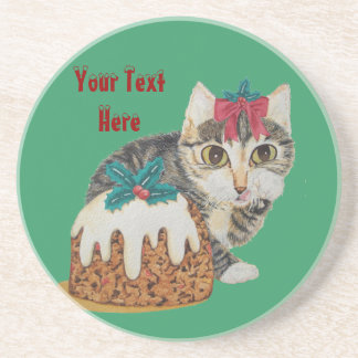 Cute grey tabby kitten and Christmas pudding cat Beverage Coasters