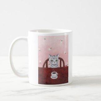 Cute Grey Tabby Kitten Cat Coffee Mug Cottage Chic