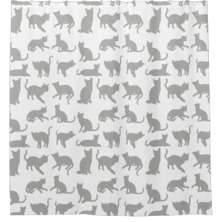 Cute Grey/White Cats/Kittens Shower Curtain