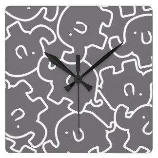 Cute Grey White Elephants Zoo Animals Wall Clocks