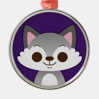 Cute Grey Wolf on Purple Christmas Tree Ornaments