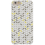 Cute Grey Yellow Leaf Pattern Barely There iPhone 6 Plus Case
