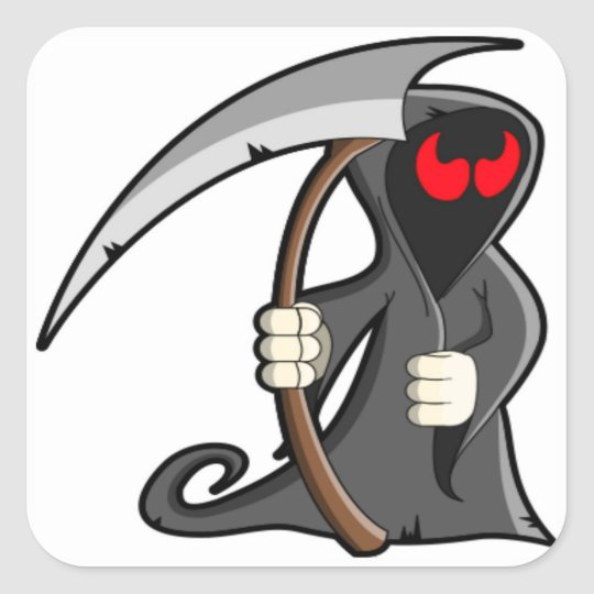 Cute Grim Reaper Halloween Cute Death Square Sticker