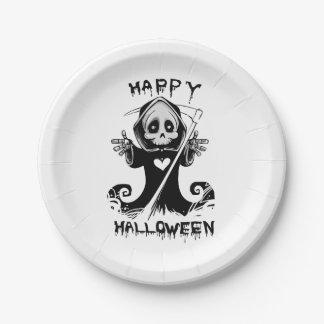 Cute grim reaper halloween paper plate