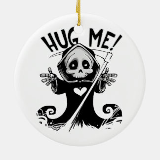 Cute Grim Reaper Hug Me Ceramic Ornament