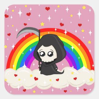 Cute Grim Reaper Square Sticker