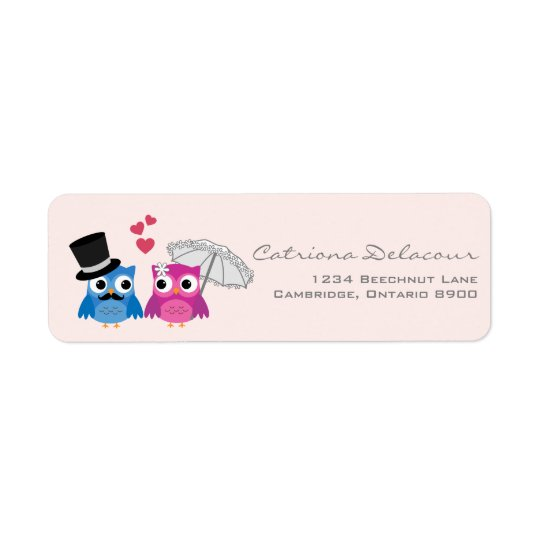 CUTE GROOM AND BRIDE OWLS WEDDING ADDRESS LABELS