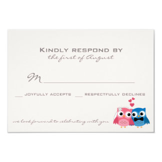 "Cute Groom Owl and Bride Owl Wedding RSVP Card 3.5"" X 5"" Invitation Card"