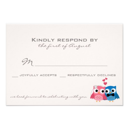 Cute Groom Owl and Bride Owl Wedding RSVP Card Personalized Announcements