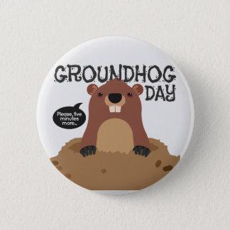 Cute groundhog day cartoon illustration 2 inch round button