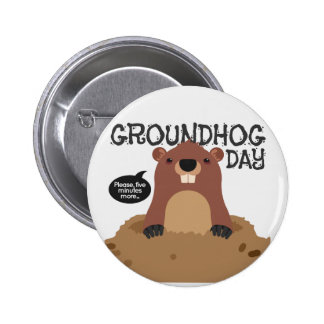 Cute groundhog day cartoon illustration 2 inch round button