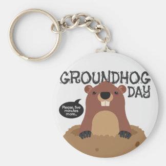 Cute groundhog day cartoon illustration basic round button keychain