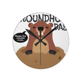 Cute groundhog day cartoon illustration clocks