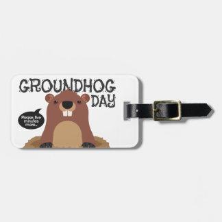 Cute groundhog day cartoon illustration luggage tag