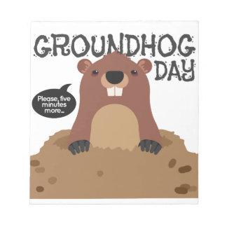 Cute groundhog day cartoon illustration notepad
