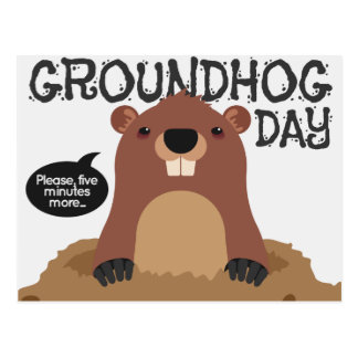 Cute groundhog day cartoon illustration postcard