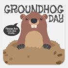 Cute groundhog day cartoon illustration square sticker