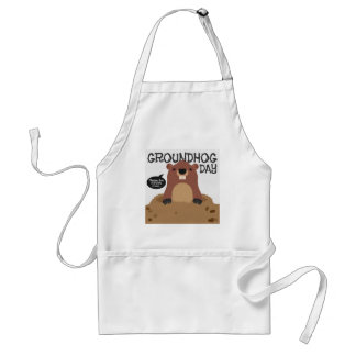 Cute groundhog day cartoon illustration standard apron