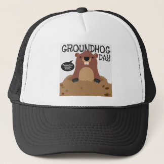 Cute groundhog day cartoon illustration trucker hat