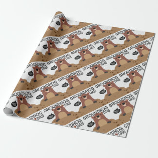 Cute groundhog day cartoon illustration wrapping paper