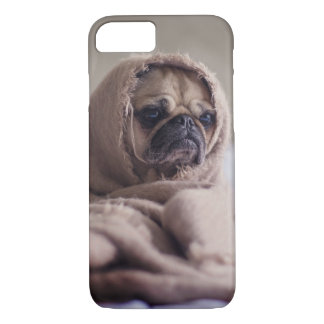 Cute Grumpy Pug Dog in Blanket iPhone 8/7 Case