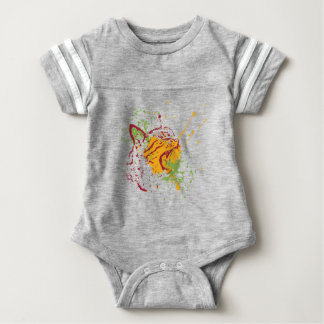 Cute Grunge Cat Portrait 2 Baby Bodysuit
