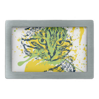 Cute Grunge Cat Portrait Belt Buckles