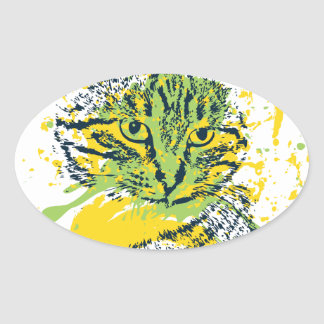 Cute Grunge Cat Portrait Oval Sticker
